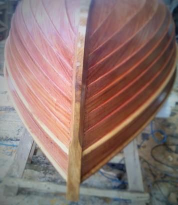 Mahogany dinghy in build